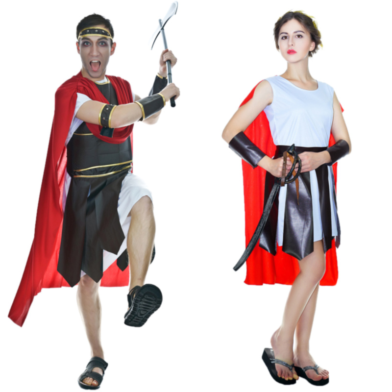 Womens Roman Centurion Brave Warrior Costumes Medieval For Halloween Party Role Play Couple Sets Costume