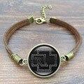 Jóias Vintage Charme Pulseira Banda de Rock Rammstein Logo Cabochon De Vidro artesanais Brown Rope Pulseira cadeia Mulheres Homens