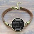 Vintage Jewelry Charm Bracelet Rock Band Rammstein Logo Glass Cabochon handcrafted Brown Rope chain Bracelet Women Men