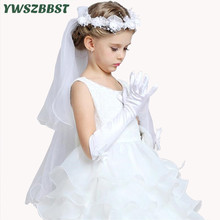 Child Girls Gloves Kids Satin Long Gloves Children's Day Gifts Party Prom Dance Gloves with Bowknot Children Fashion Accessories