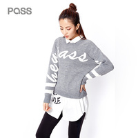 PASS 2016 Hot Sellling Winter Woman Long Sleeve Pullover Loose Short Clothing Causla Letter O Neck