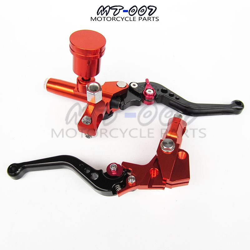Orange Motorcycle Left&Right Hydraulic Brake & Clutch Master Cylinder Lever With Oil Pump Fit CRF KXF YZF WR RMZ EXC цена