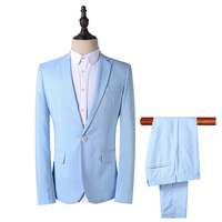 Men Suit Custom Wedding Dress Size M 4XL Custom Retro Slim Fit Blue 2017 New Business