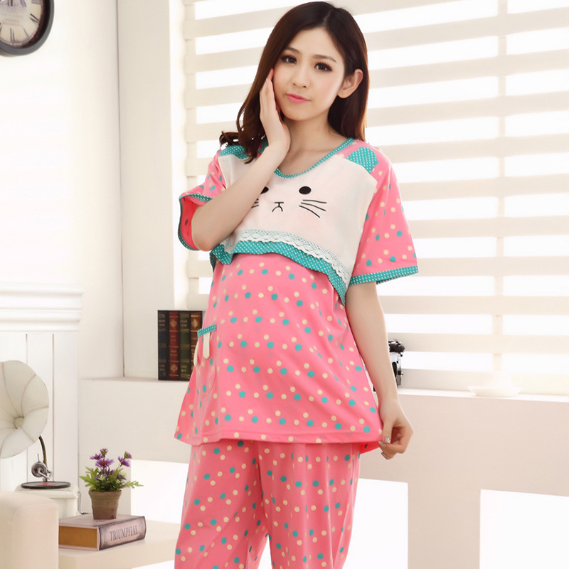 Cotton Polka Dot Maternity Pajamas Set Pregnant Women Lounge Nursing Sleepwear Breastfeeding Pajamas Maternity Clothes