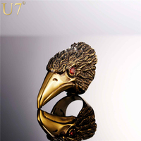 U7 Brand Men Jewelry Eagle Beak Cocktail Rings Gold Plated Stainless Steel Big Vintage Party Ring
