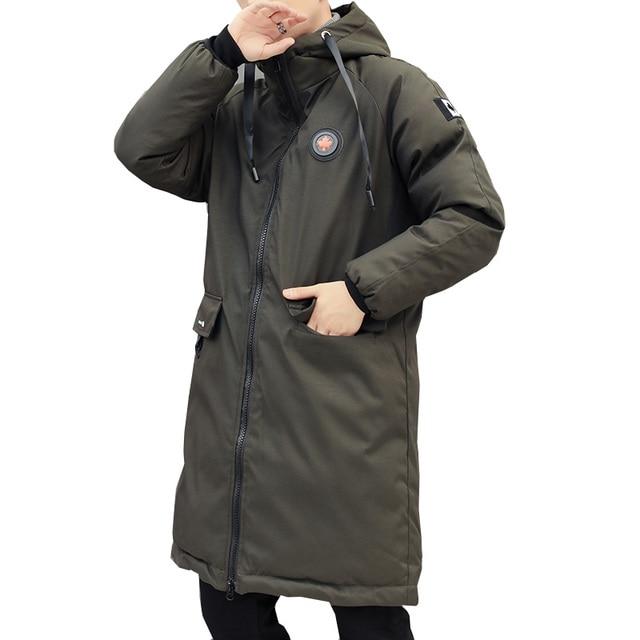 Длинные парки зимняя куртка мужская 2018 новая теплая ветрозащитная Повседневная Верхняя одежда хлопковое пуховое пальто большие карманы высококачественные мужские парки
