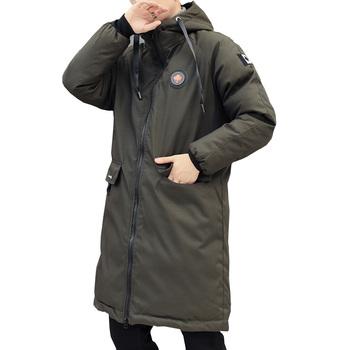 Długa kurtka zimowa parki mężczyźni 2018 nowa ciepła wiatroszczelna codzienna odzież wierzchnia ocieplana bawełna płaszcz duże kieszenie wysokiej jakości parki mężczyzn tanie i dobre opinie FANTUOSHI COTTON REGULAR Grube 1 25 Suknem zipper NONE Szczupła Solid Długi Na co dzień Hooded