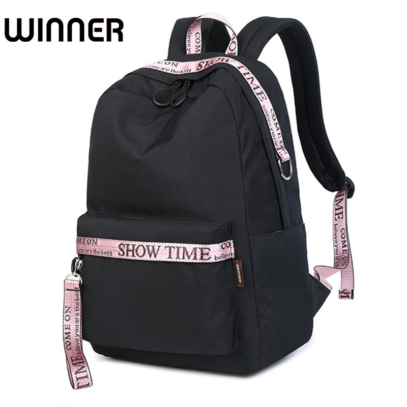 Waterproof Fabric Women Backpack Black with Pink Youth Female Fashion Bagpack Laptop Ulzzang School Bag for Teenagers Girls