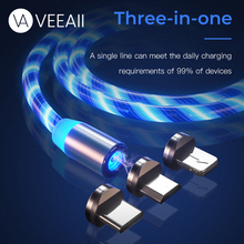 VEEAII 1M LED Magnetic Cable Charger Type C Micro USB  Charging for Iphone 7 8 Plus X Samsung S9 S8 Mobile Phone Cord