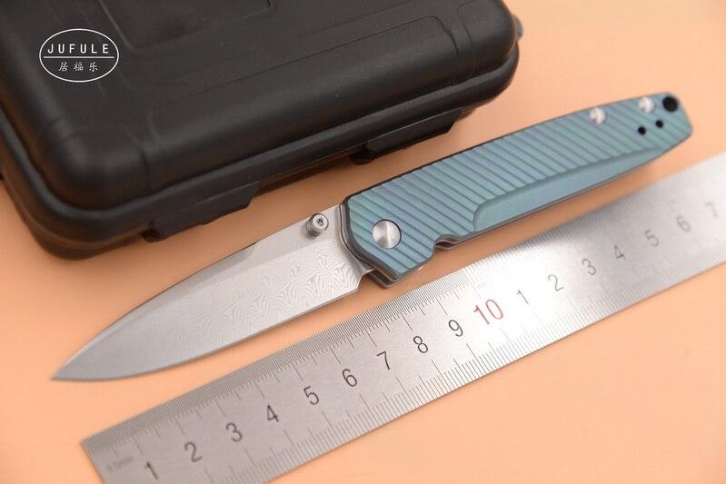 JUFULE Custom Made 485 Réel Suédois Damas Lame Titane poignée pliante camping Poche Survie chasse EDC Outil cuisine couteau