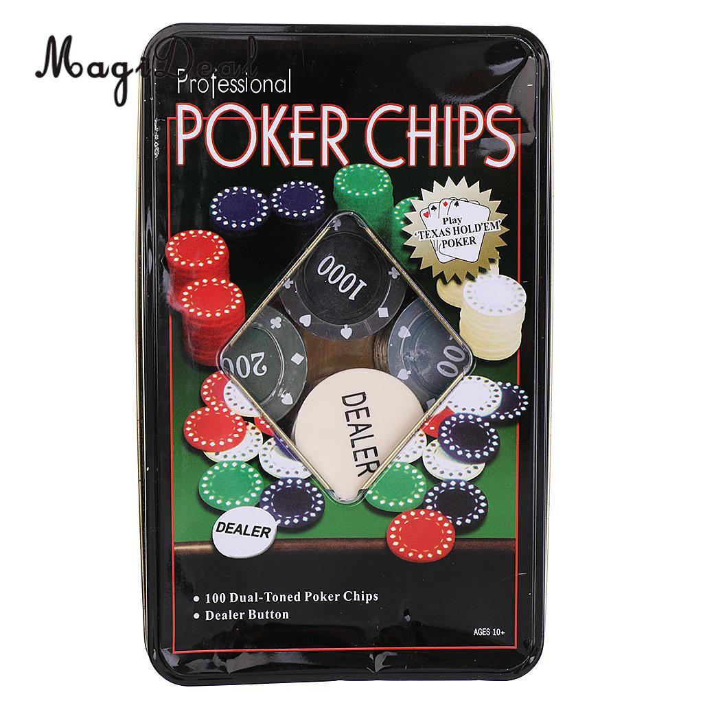 MagiDeal Professional 100Pc Poker Chip 4 Denomination Set for Texas Hold'em Blackjack Roulette Tournament Poker Collection Lover