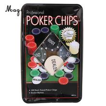 MagiDeal Professional 100Pc Poker Chip 4 Denomination Set para Texas Hold'em Blackjack Roulette Tournament Poker Collection Lover