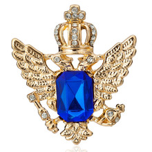 Vintage Blue Black Crystal Crown Eagle Wing Brooch Pins Medal Spurs Needle Collar rooches For Women Men Suit Clothing Decoration