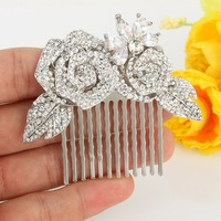 Bella Fashion Bridesmaid Flower Rhinestone Wedding Comb For Bride Hair Accessories Austrian Crystal Jewelry