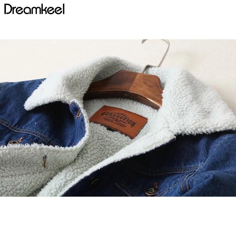 2019 New Women lambswool jean Coat Spring Autumn Winter Long Sleeves Warm Jeans Coat With 4 Pockets Outwear Wide Denim Jacket Y