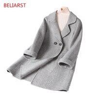 BELIARST 2018 Новый средней длины лацканы кашемировое пальто шерстяное пальто Женская мода Куртки елочка сетки Винтаж дамы пальто