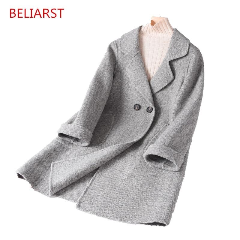 BELIARST 2018 New mid-longueur revers en cachemire manteau de laine manteau de mode de femmes veste Chevrons grille Vintage dames manteau