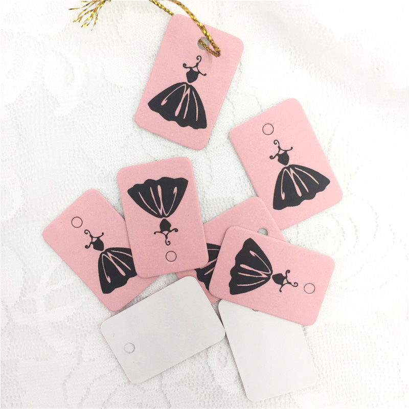 2x3cm Pink Paper Tags Clothing Hang 500Pcs/Lot Black Skirt Paper Tags Wedding For Packaging Jewellry Soap Gift Boxes H0274