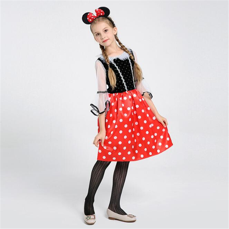 Fancy Girls Red Mini Mouse Costume Cute Halloween Kids Children Anime Party Cosplay Clothing