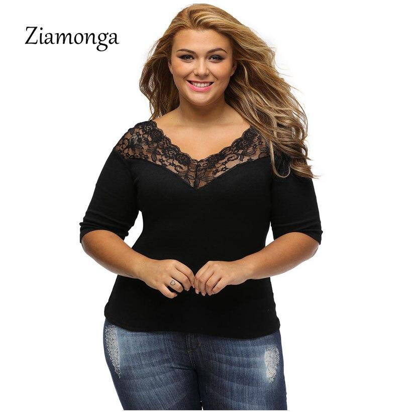 4c2dcc3820 Ziamonga 2017 XXXL Autumn Half Sleeve Big Size Women Tops Black Casual Women  T Shirt Lace