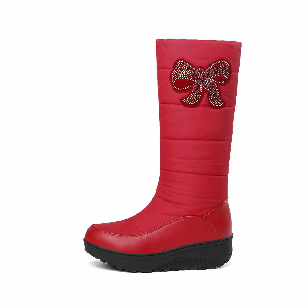 MEMUNIA Kar botları kadın platform ayakkabılar kadın kış çizmeler sıcak tutmak orta buzağı botları aşağı PU deri taklidi yarım çizmeler