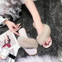 SEGGNICE 2019 Womens Fur Slippers Ladies Cute Plush Furry Flat Sandals Fox Hair Home Female House Shoes Luxury