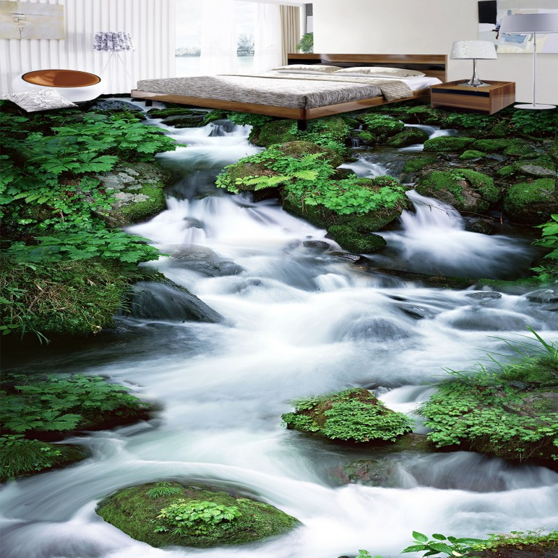 купить Free Shipping custom Waterfall stone 3D floor painting Self-adhesive mural Street corridor shopping mall living room wallpaper по цене 6953.13 рублей