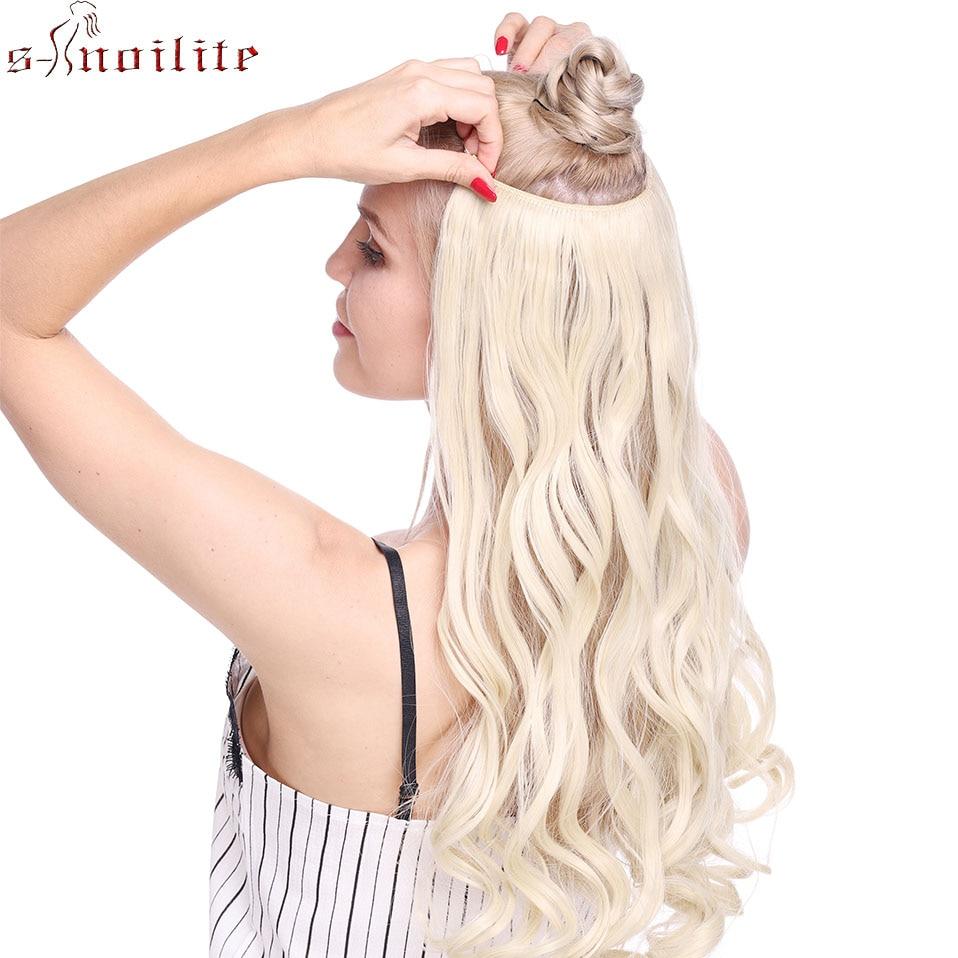 S-noilite 24/26 polegada Reta Encaracolado 4 Clips Em One Piece Peruca Sintética Natural U-parte Grampo Em extensões de cabelo Para As Mulheres