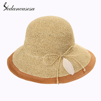 Sedancasesa Summer Hat Female Wide Brim Feather Ladies Sun Hats for Women Casual Straw Hat Sun Visor Cap Sombrero Chapeau Female