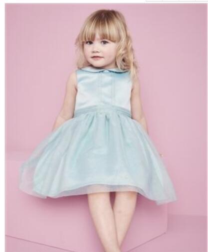 Sky Blue 2018   Flower     Girl     Dresses   For Weddings A-line High Collar Tulle Lace First Communion   Dresses   For Little   Girls