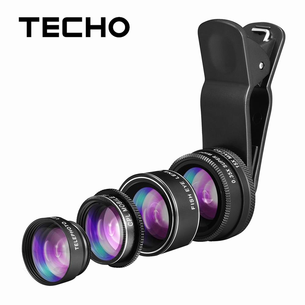 bilder für TECHO 5 IN 1 HD Kamera Linsen Kit Fischauge Makro 0.35X Weitwinkel Objektiv 2X Zoom Handy-teleskop-teleobjektiv CPL Anzug Für Die Meisten Handy