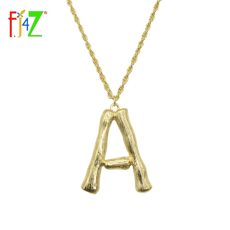 F J4z 2018 Hot Sale Big Bambu Letters Necklace Pendants For Women Golden A Z 26