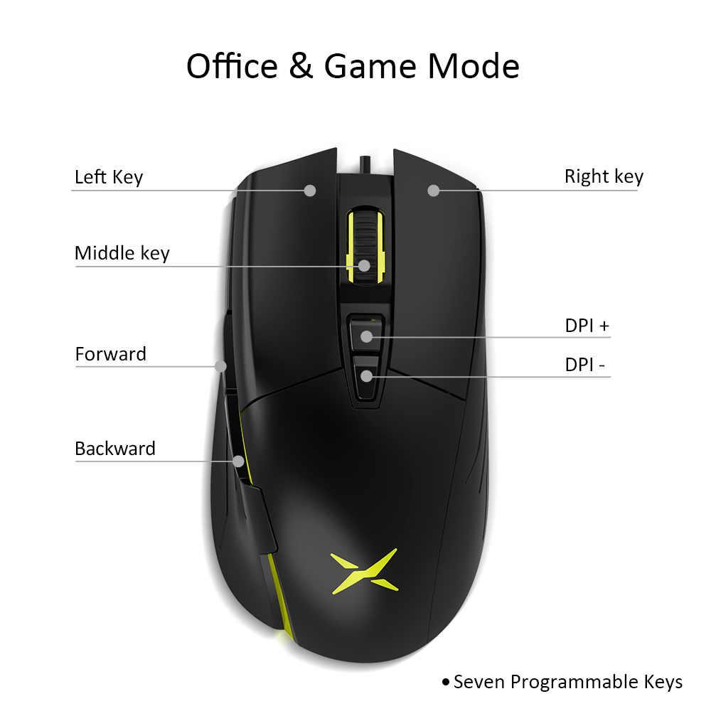 Delux M522 Kabel Mouse Ergonomis Gaming Mouse Kantor Dual Mode 6400 Dpi 7 Tombol Yang Dapat Diprogram Tikus dengan Lampu Latar untuk Gamer