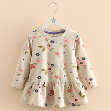 2019 Autumn Spring 2 3 4 6 8 10 Years Children Clothing Fashion Round-Neck Long Sleeve Kids Baby Girls Floral Long Sleeve Dress