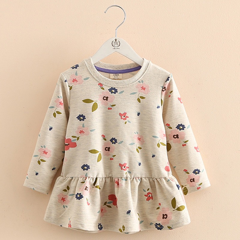 610009de939d 2019 otoño primavera 2 3 4 6 8 10 años niños ropa moda cuello redondo manga  larga niños bebé vestido de manga larga Floral para niñas