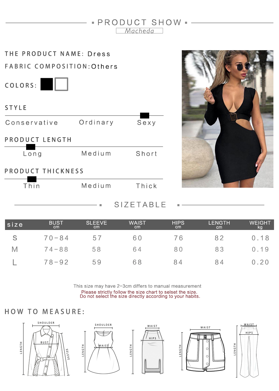 308a4ada Macheda Black White Cut Out Dress Women V-Neck One Side Long Sleeve ...