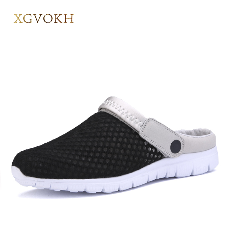 XGVOKH Sandals and slippers Men Sandals slip on Summer Breathable Air Mesh men lighted outdoor Beach mens Shoes Leisure shoes men s slippers beach sea leisure shoes non slip bottom of the massage indoor and outdoor take a shower sandals hot selling