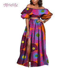 купить African Wax Print Two Piece Long Skirt Suit 2019 Bazin Riche African Traditional Clothing Dashiki Crop Top and Skirt Sets WY4097 дешево