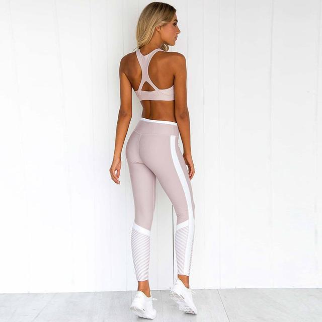 Sexy Sport Suit Women Pink Yoga Set Breathable Gym Sport Wear Elastic Fitness Clothing Quick Dry Training Running Dancing Suit 1