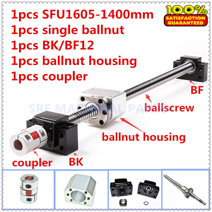 16mm Rolled Ballscrew RM1605 sets:1pcs SFU1605 L=1400mm +1pcs single ballnut +1set BK/BF12 end support +1pcs coupler 12 hbh20ca square linear guide sets 4 x sfu2010 600 1400 2200 2200mm ballscrew sets bk bf12 4 coupler