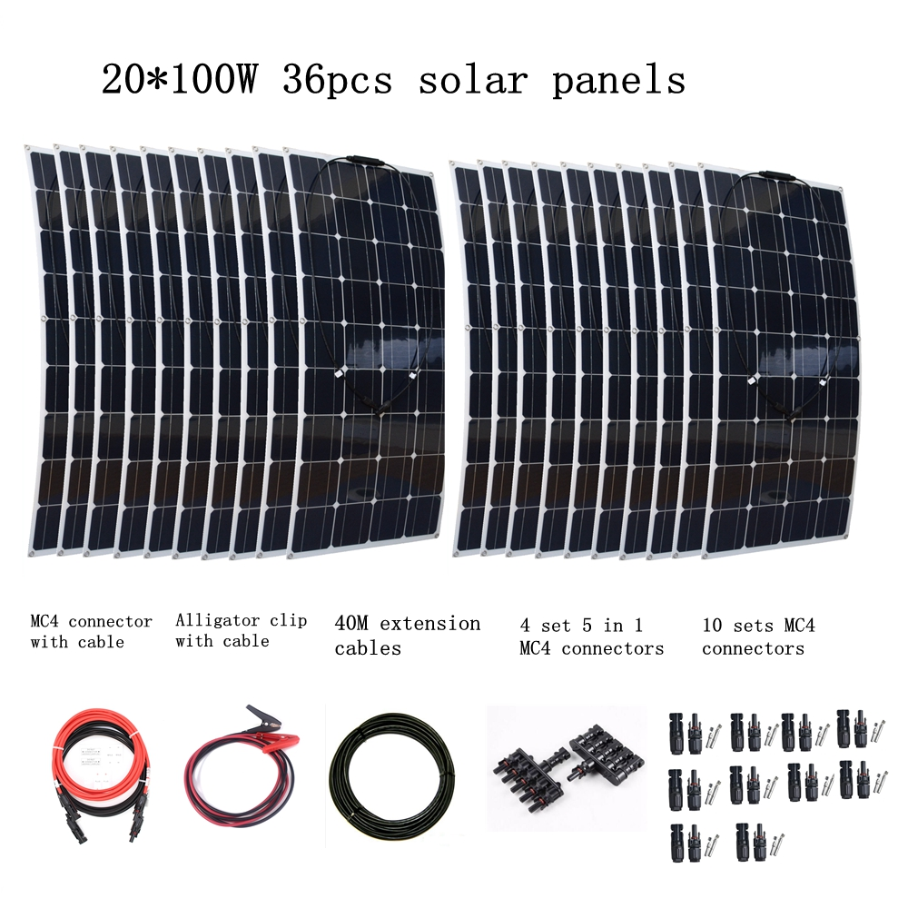 20pcs Mono 100w Solar Panels Modules with MC4 Connectors and Cables House Use Off Grid Solar Power System