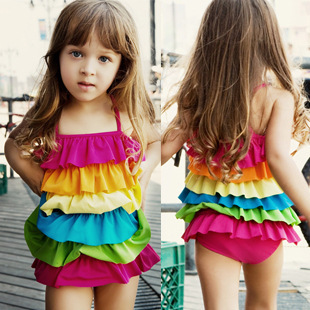 New Cute Lovely Ruffles Kids Rainbow One-piece Dress Girl Children Rainbow Swimwear Baby ...