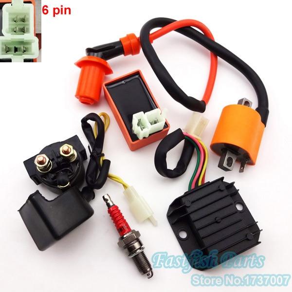 Racing Ignition Coil  U0026 Ac Cdi 6 Pin  U0026 D8tc Spark Plug  U0026 5 Wire Regulator Rectifier  U0026 12v Relay