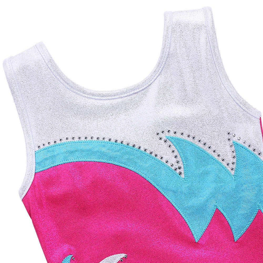 Baohulu Balita Remaja Senam Leotard Gadis Anak Bersinar Kostum Tari Olahraga Baju Olahraga Akrobat untuk Anak-anak