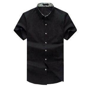 Image 2 - Xl 5XL 6XL 7XL 8XL 9XL 10XL シャツ男性の半袖ルーズ夏カジュアル紺男性のジャケットドレスシャツ