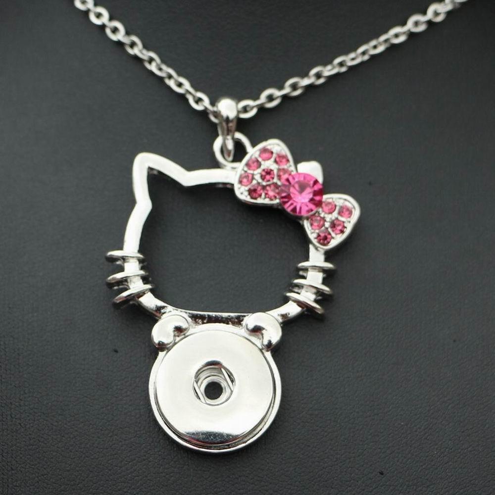 4 Цвета 50 см Сталь цепи Hello KITY кнопки кулон Ожерелья Для Мужчин Мультфильм 18 мм оснастки кнопка металла украшения для ребенок женщин Подарки