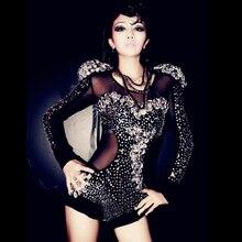 Novo traje de dança moderno com strass, moderno de dança, de alta qualidade, para palco e show