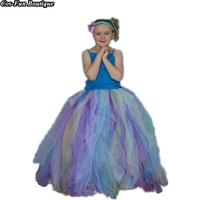 Rainbow Fairy Long Tutu Skirt Little Kids Girl Child Adult Ladies Teen Halloween Costume Full Length Tulle With Headband 2018