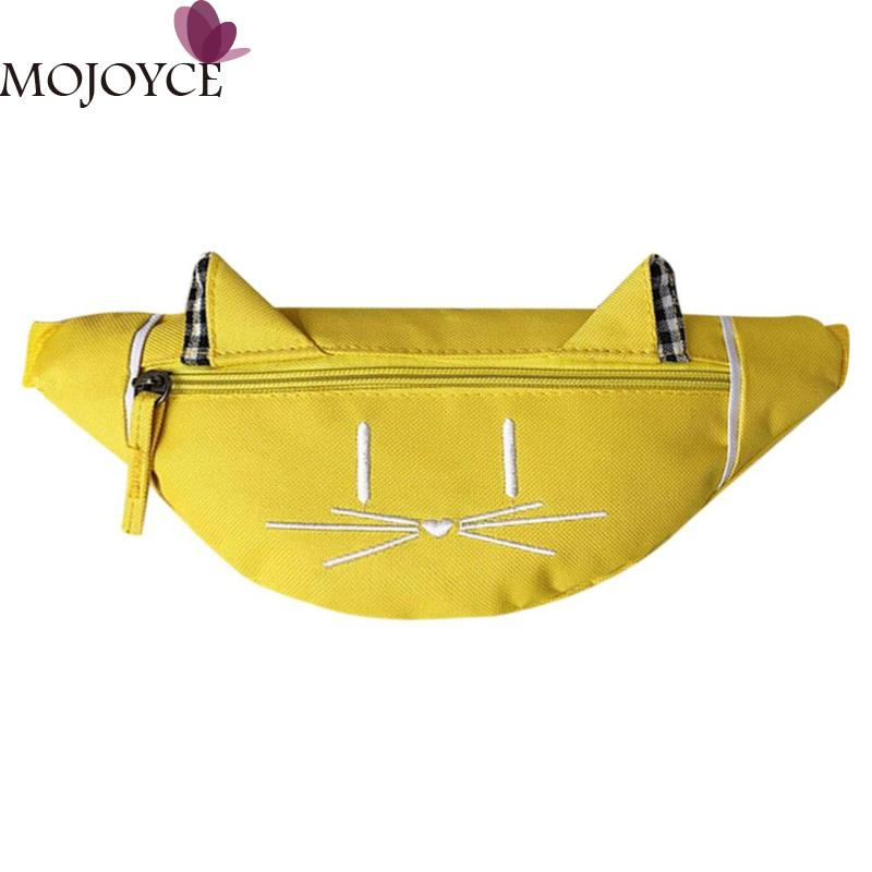Children Solid Color Cartoon Cute Print Shoulder Bags For Kids Boys Girls Casual Waist Fanny Belt Packs Canvas Zipper Chest Bags