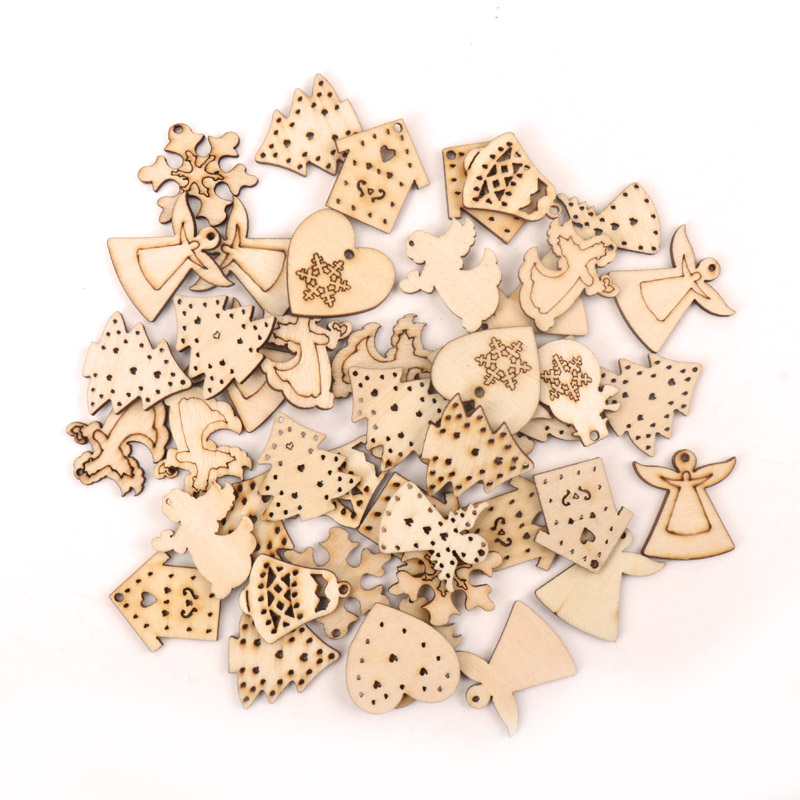 Handmade Wooden Crafts Accessory Home Decoration Scrapbookings DIY Mix Stars Snowflakes Heart Wood Ornaments 25-30mm 20pcs